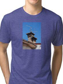 Old Stone Chimney Against Blue Sky Tri-blend T-Shirt