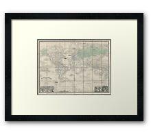 Vintage Map of The World (1857) 2 Framed Print