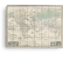 Vintage Map of The World (1857) 2 Metal Print