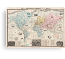 Vintage Map of The World (1859) Canvas Print