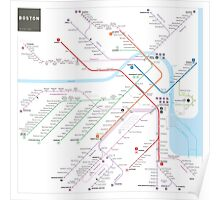 Boston metro subway map Poster
