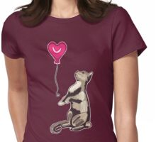 Cat with a Heart Balloon Womens Fitted T-Shirt
