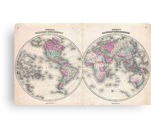Vintage Map of The World (1862) Canvas Print