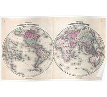 Vintage Map of The World (1862) Poster