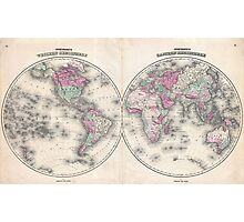 Vintage Map of The World (1862) Photographic Print
