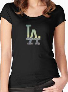 LA Dodgers Black Renewed Women's Fitted Scoop T-Shirt