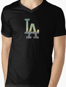 LA Dodgers Black Renewed Mens V-Neck T-Shirt
