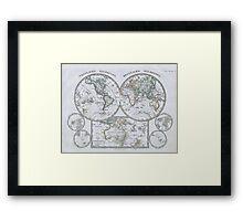 Vintage Map of The World (1862) Framed Print