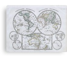 Vintage Map of The World (1862) Metal Print