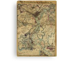 Vintage Savannah Georgia Civil War Map (1864) Canvas Print