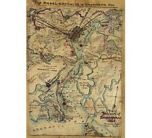 Vintage Savannah Georgia Civil War Map (1864) Photographic Print
