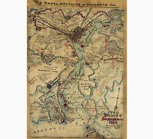 Vintage Savannah Georgia Civil War Map (1864) Unisex T-Shirt