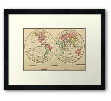 Vintage Map of The World's Religions (1883) Framed Print