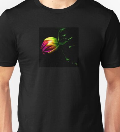 Dahlia Bud on Black Unisex T-Shirt
