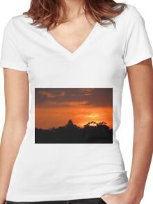 July Sunset and Silhouettes Women's Fitted V-Neck T-Shirt