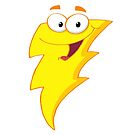 Silly Cute Cartoon Lightning Bolt Character by doonidesigns