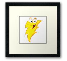 Silly Cute Cartoon Lightning Bolt Character Framed Print