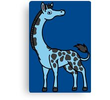 Light Blue Giraffe with Black Spots Canvas Print