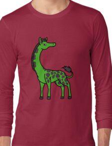 Green Giraffe with Black Spots Long Sleeve T-Shirt