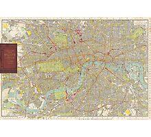 Vintage Map of London England (1910) Photographic Print