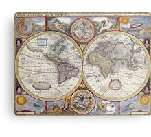 Vintage Map of The World (1626) Metal Print