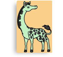 Light Green Giraffe with Black Spots Canvas Print