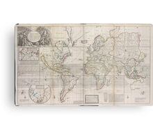 Vintage Map of The World (1719) Metal Print