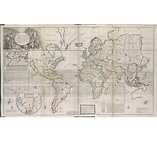 Vintage Map of The World (1719) Photographic Print