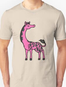 Hot Pink Giraffe with Black Spots Unisex T-Shirt