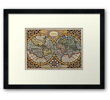 Vintage Map of The World (1596) Framed Print