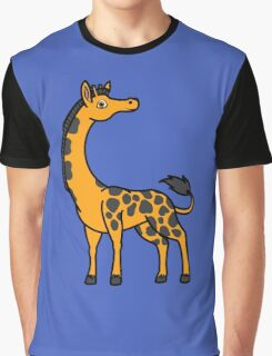 Orange Giraffe with Black Spots Graphic T-Shirt