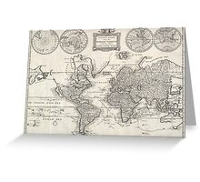 Vintage Map of The World (1786) Greeting Card