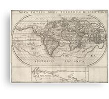 Vintage Map of The World (1621) Canvas Print