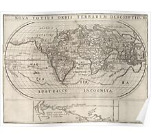 Vintage Map of The World (1621) Poster