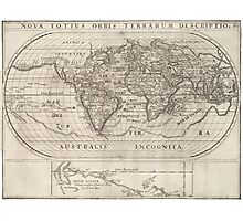 Vintage Map of The World (1621) Photographic Print