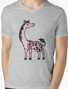 Light Pink Giraffe with Black Spots Mens V-Neck T-Shirt