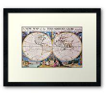 Vintage Map of The World (1700) Framed Print