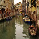 Venice Canel Boats by Larry Costales