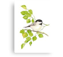 Watercolor Chickadee Bird in Poplar Tree Metal Print