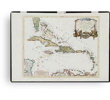 Vintage Map of The Caribbean (1779) Canvas Print