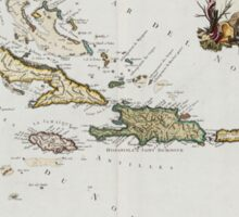 Vintage Map of The Caribbean (1779) Sticker
