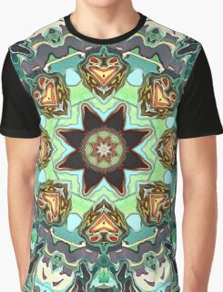 Green And Grey Abstract Graphic T-Shirt