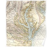 Vintage Map of The Chesapeake Bay (1778) 2 Poster