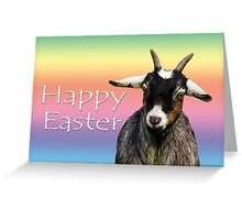 Happy Easter with a goat on rainbow background Greeting Card