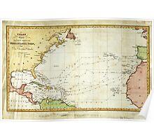 Vintage Christopher Columbus Voyage Map (1828) Poster