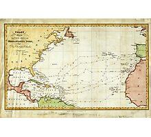 Vintage Christopher Columbus Voyage Map (1828) Photographic Print