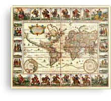 Vintage Map of The World (1652) Metal Print