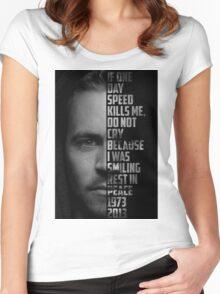 Paul Walker Text Portrait Women's Fitted Scoop T-Shirt
