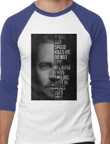 Paul Walker Text Portrait Men's Baseball ¾ T-Shirt