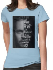Paul Walker Text Portrait Womens Fitted T-Shirt